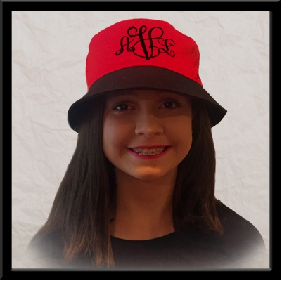 Custom Monogrammed Bucket Hat on Young Girl
