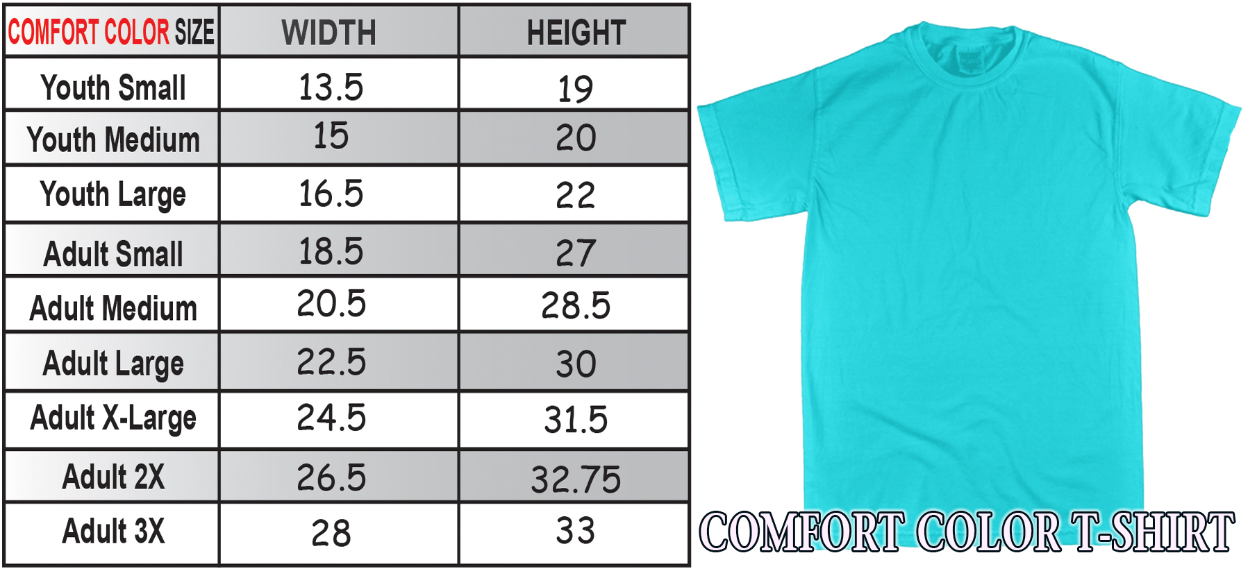 Comfort Color Sizing Charts