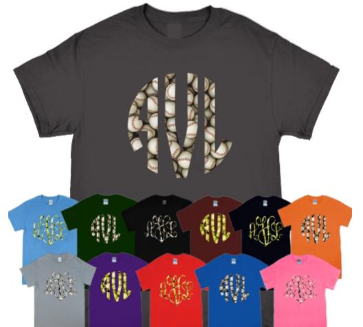 Patterned Softball Monogram T- Shirt