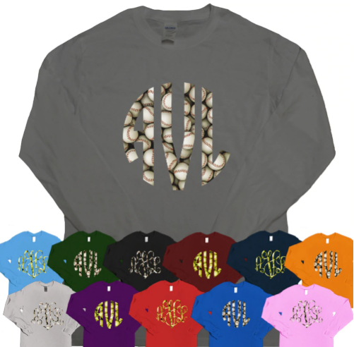 Pattern Softball Monogram Long-sleeve Shirt