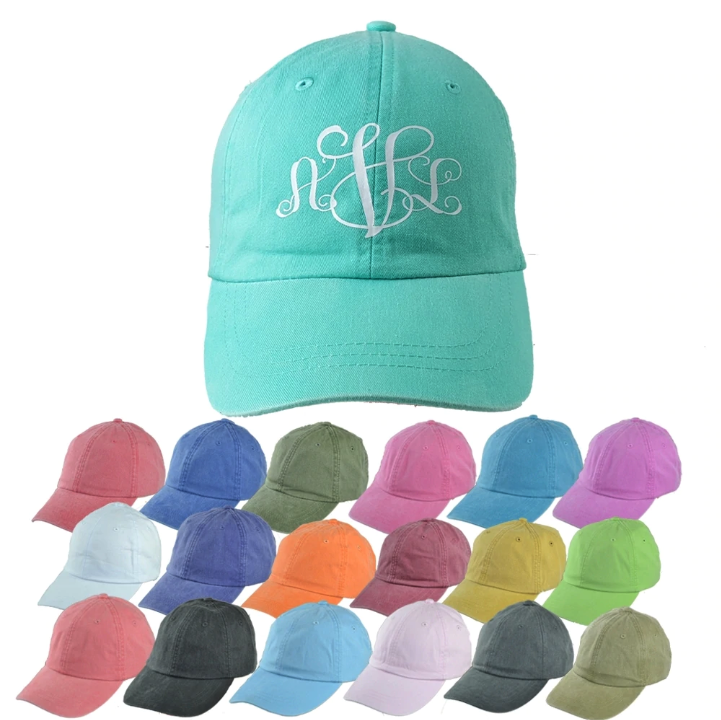 customizable monogrammed cap in a variety of colors