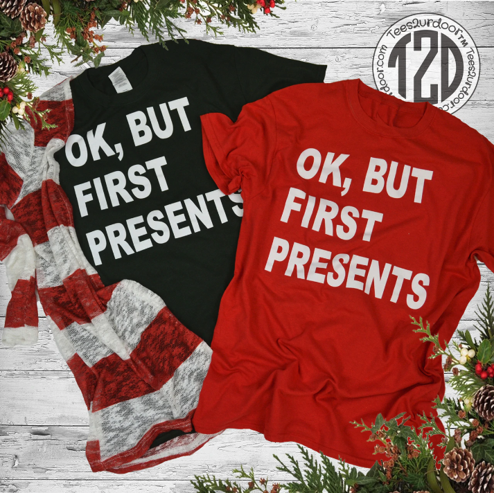 Ok, but first presents t-shirts in red and black