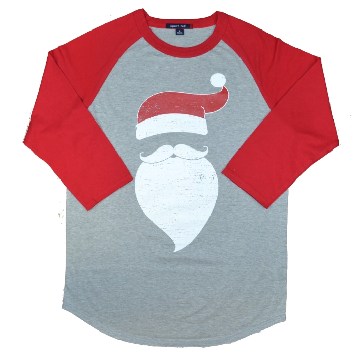 santa beard and hat raglan tee